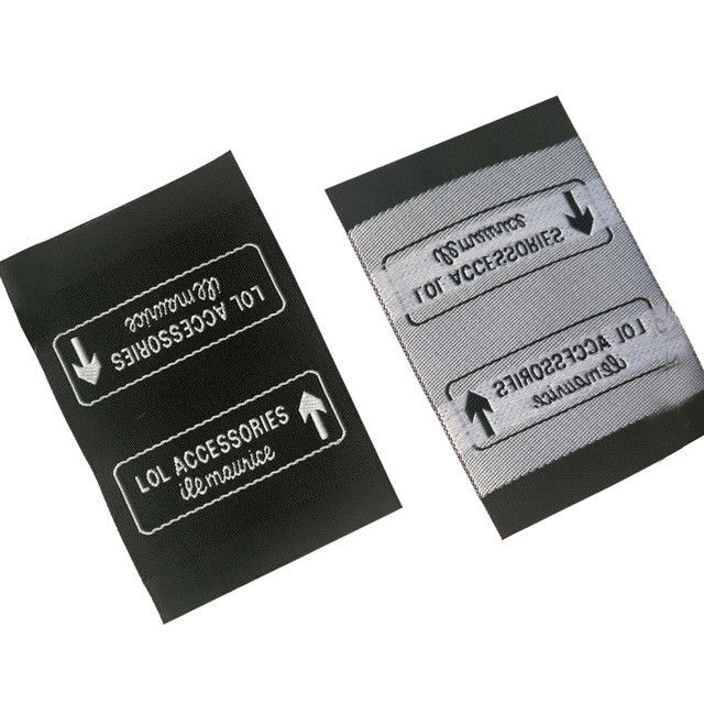 High Damask Custom Made Woven Labels For Clothing Rectangle Shape